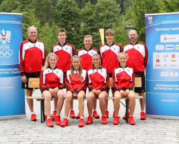 SPITAL AM PYRN,AUSTRIA,11.JUL.19 - OLYMPICS - OEOC, official equipping for the EYOF in Baku. Image shows athletes from Tyrol - 1st row: Pia-Jaqueline Kraft, Tabea Huys, Lisa-Marie Ebster, and Anna-Lena Ebster (AUT); 2nd row: Peter Mennel (OEOC), Askhab Matiev, Jakob Roman Saurwein, Marco Schrettl (AUT) and Christoph Sieber (OEOC). Photo: GEPA pictures/ Christian Walgram